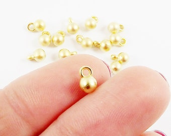 4mm Round Ball Charms - 22k Matte Gold Plated Plated  - 15pcs