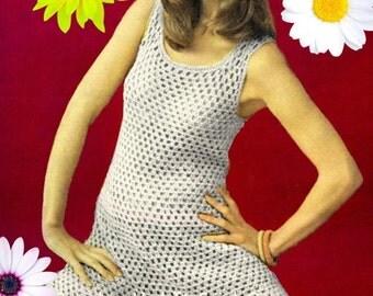 Vintage Crochet Pattern - Mini Tunic Dress - Beach Cover Up - 1970s Retro Crochet Pattern - PDF Instant Download - Vintage Digital Pattern