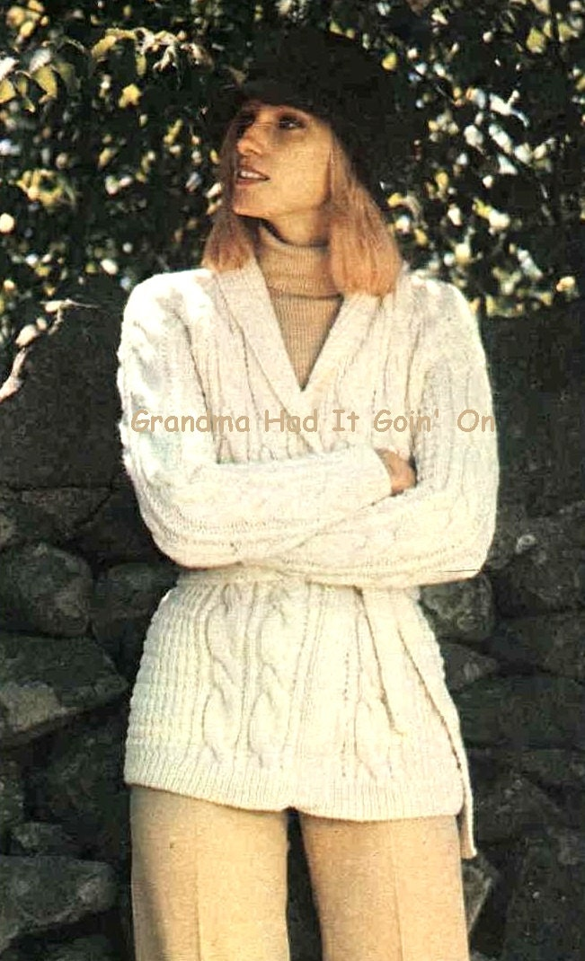 Knitting Pattern Chunky Cable Cardigan : Wrap Jacket KNITTING PATTERN Chunky Cable Sweater Knitted