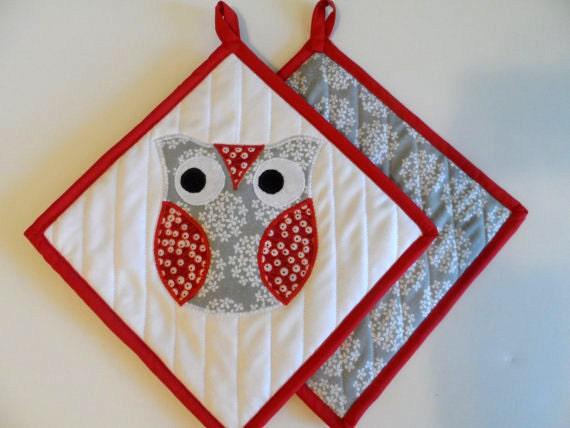 owl pot holders owl kitchen decor set of 2 applique owls kitchen