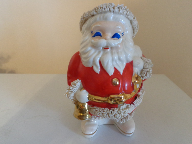 Vintage Ceramic Santa Claus Bank With Spaghetti Trim