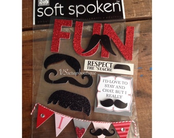 Soft Spoken Mustache FunThemed Embellishments SS-1325 ~ Scrapbook stickers - Valentines stickers
