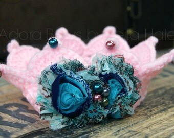 Ready to ship gorgeous 2 - 10 mos infant baby newborn crochet full round crown photography prop topper first photography