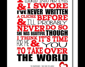 A3 Courteeners Take Over The World Print Typography song music lyrics for framing   ( Print Only )