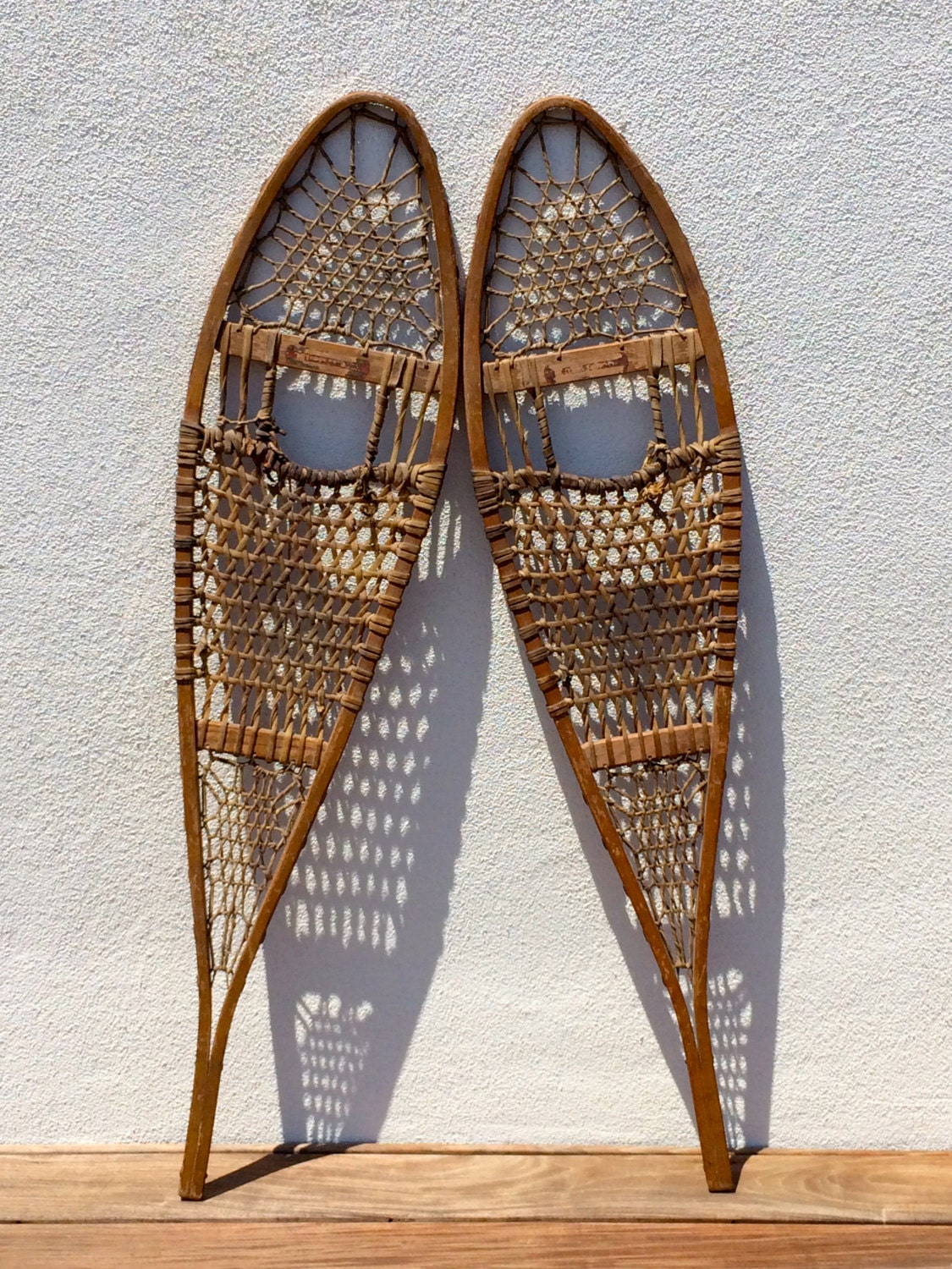 Vintage Snow Shoes Wood Tubbs Antique Snowshoes Pair Vintage
