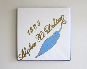 hand painted Alpha Xi Delta mascot12x12 canvas OFFICIAL LICENSED PRODUCT