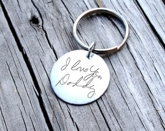 Custom Handwriting Keychain - Handwriting Keychain - Memorial Keychain - Signature Jewelry - Signature Keychain - Personalized Engraved