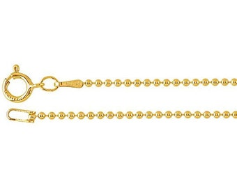 14Kt Gold-Filled 1.2mm Bead Chain Necklace in 16, 18, 20, 22, 24, 30-inch Lengths  -  GFC12BCxx