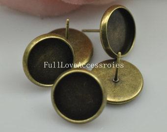 10pcs Fit 10mm Antique Brass Earring Setting - Antique Bronze Blank Bezel Cabochon Setting, Base Setting