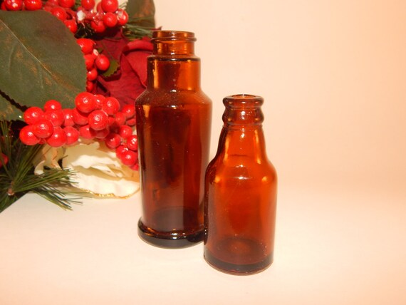Amber brown glass bottles small vases mid century vintage for Liquor bottle vases