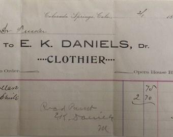 Vintage paper: Ephemera invoices 1894-1924