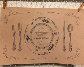 Customized vintage plate placemat