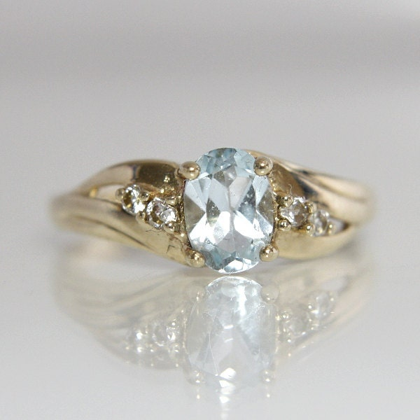 blue topaz gemstone engagement ring vintage 10k yellow gold