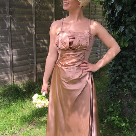 1950s dress mink satin ruched ballgown pleated glamour evening dress UK 8 pin up bridesmaid wedding Bride silky