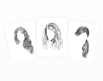 Hair Series : 3 Card Set