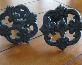 Decorative Cast Iron Curtain Tie Backs / Drapery Tiebacks / Window Treatment / Black or Pick Color / Shabby Chic / French Country Style