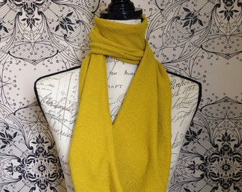 "Womens Mustard embossed Scarf. This Design is Called the ""Merryn"""