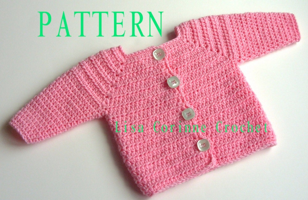 Crochet Baby Girl Cardigan Pattern Free : Baby Girl Sweater Crochet PATTERN Baby Sweater PATTERN
