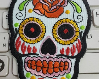 Skull Iron on Patch - White Sugar Skull Applique Embroidered Iron on Patch