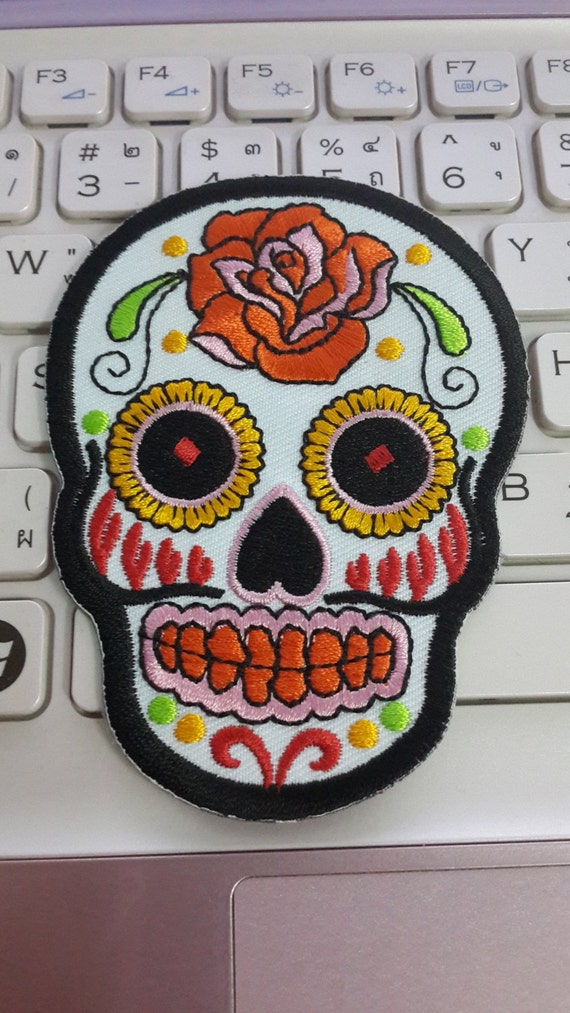 Skull Iron on Patch White Sugar Skull Applique by ...