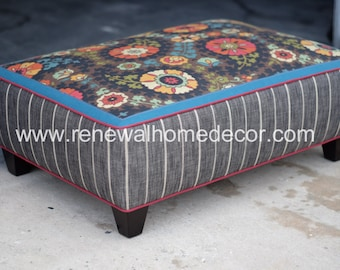 "Custom Ottoman, Upholstered Ottoman Coffee Table ""Stephanie's Custom Ottoman"" - SOLD - Made to Order"