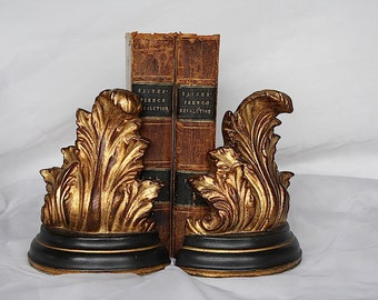 Acanthus Leaf Bookends - Gold Decor - Hollywood Regency Decor - Library Decor - Vintage Bookends - Book Lover Gift
