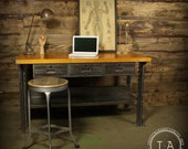 Vintage Industrial Butcher Block Steel Desk Work Bench Kitchen Island Table