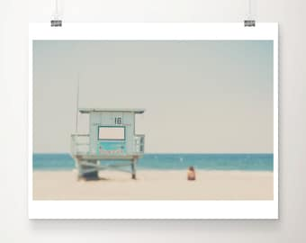 beach photograph santa monica photograph california photograph beach house decor life guard tower print travel photography