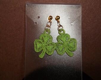 Embroidered Shamrock Earrings