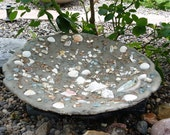 Tide Pool Bird Bath, Custom Handcrafted, Aqua Tumbled Glass, Sea Shells, Abalone Shell