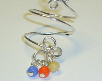 Boho Toe Ring, Sterling Silver, Vintage Beads