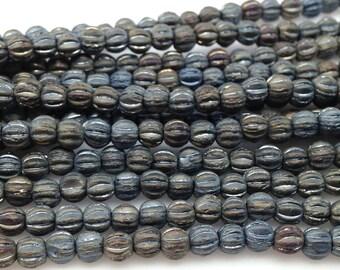 50 Grey Blue Czech Melon Glass Beads 4mm