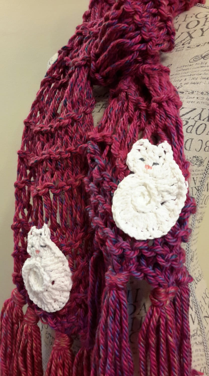 Cat Lady Knitting : Knit crazy cat lady scarf made by bead gs on etsy chunky