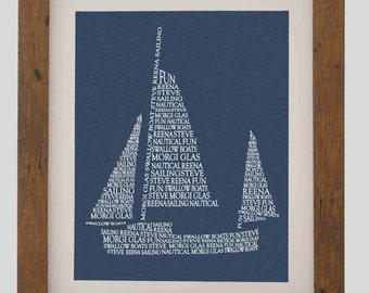 Framed Sailing Boat Picture - Handmade Personalised Typography