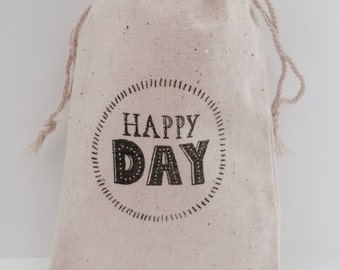 Happy Day 3x5 Muslin Wedding Favor Bags, Set of 25