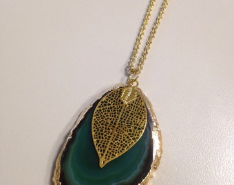 Green Agate & Gold Leaf Necklace