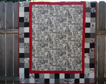 Black, Cream, and Red Christmas Holiday Panel Lap-Size Quilt
