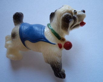 Vintage Fabulous Plastic Playful Dog wearing Blue Jacket Brooch/Pin