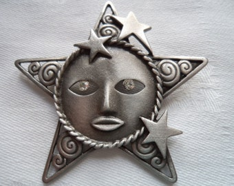 Vintage Signed JJ Silver pewter Rhinestone Eyes Star Face Brooch/Pin
