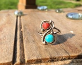 Native American Sterling Sliver Leaf Coral and Turquoise Ring size 9