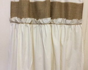 Burlap And Muslin Primitive Tattered Ruffle French Country Shabby Chic Rustic Window Cafe Curtain