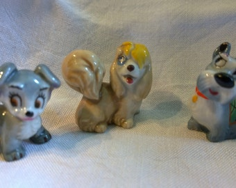 Wade Lady & the Tramp Disney 3 figures Jock, Scamp and Peg