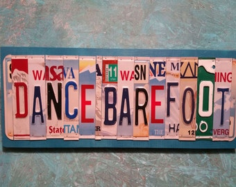 License Plate Sign License Plate letter Art Picture Home Deco Dance Barefoot License Plate Letter Sign