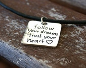 Leather Choker - Leather chokers for Women - Black Leather Cord Necklace - Follow Your Heart Necklace -Cute Girl Necklace - Girl Choker Gift