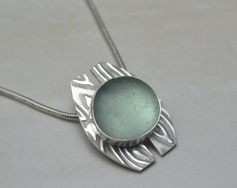 Sea Glass Pendant, Sea Foam Green English Sea Glass, Sterling Silver Necklace, Handmade Pendant, One Of A Kind Design
