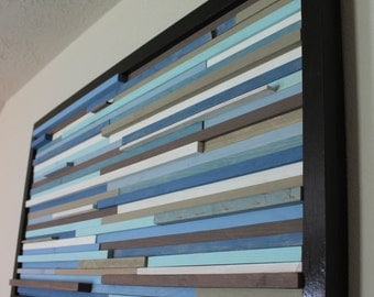 Modern Wall Art wood sculpture Blues and Tans