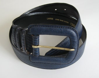 Blue leather belt, 1980s-90s vintage Cipriani  lizard-grain leather, big buckle, size large