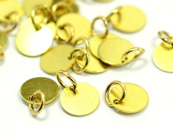 "50 Pieces Raw Brass  8  mm (5/16"" ) Round Disc with Jump Ring Attached Charms Findings"