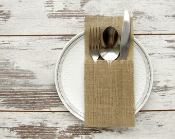 Burlap Silverware Holder, Cutlery Holder, Rustic Table Decor