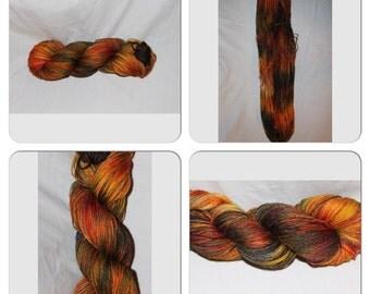 "Yarn, sock weight, Hand dyed, 400yds ""MAGMA"""